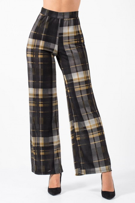 Wide Pants Plaid - Beige