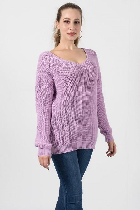 γυναικείο πουλόβερ λιλά