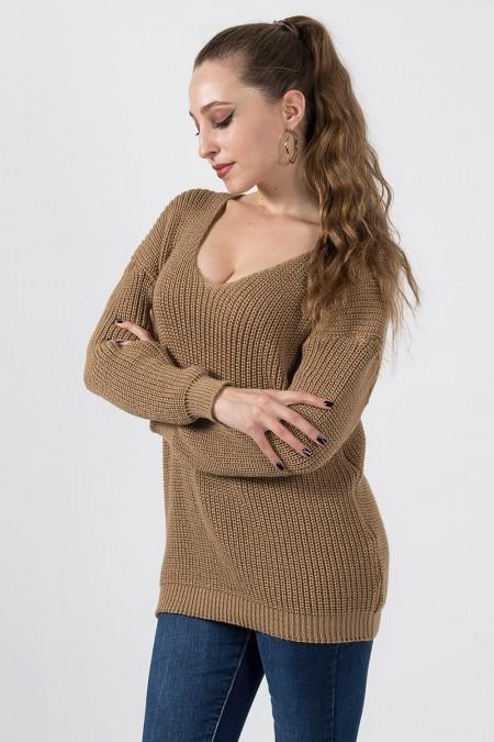 γυναικείο πουλόβερ καμηλό