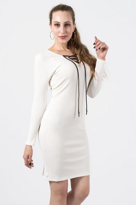 φόρεμα ριπ λευκό