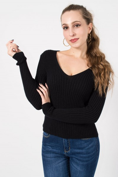 Πλεκτή Μπλούζα - Μαύρο
