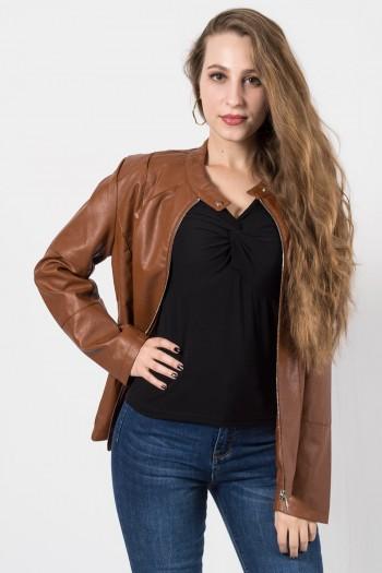 γυναικείο μπουφάν δερματίνη μαύρο