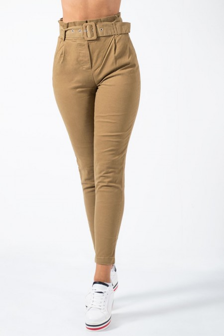 Trousers with Belt - Beige