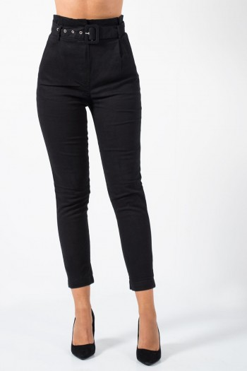 Trousers with Belt - Black