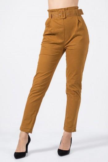 παντελόνι ψηλόμεσο με ζώνη μουσταρδί