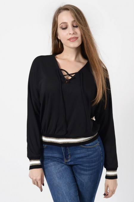 Μπλούζα με Λάστιχο - Μαύρο