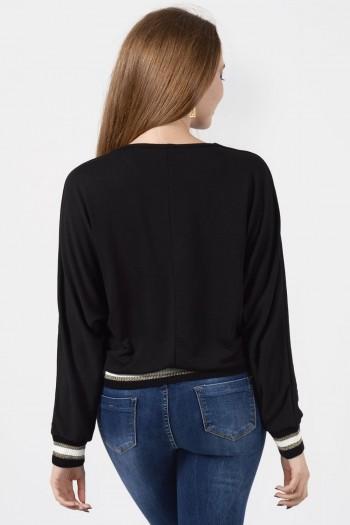 Μπλούζα μαύρη με λάστιχο και κορδόνι