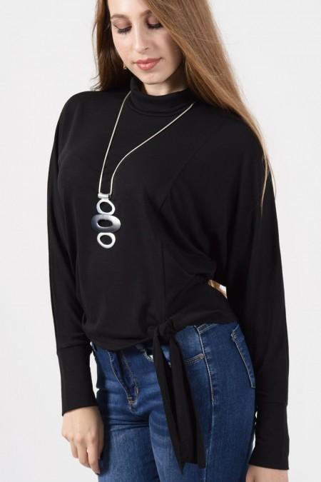 Μαύρη μπλούζα ζιβάγκο με δέσιμο μπροστά