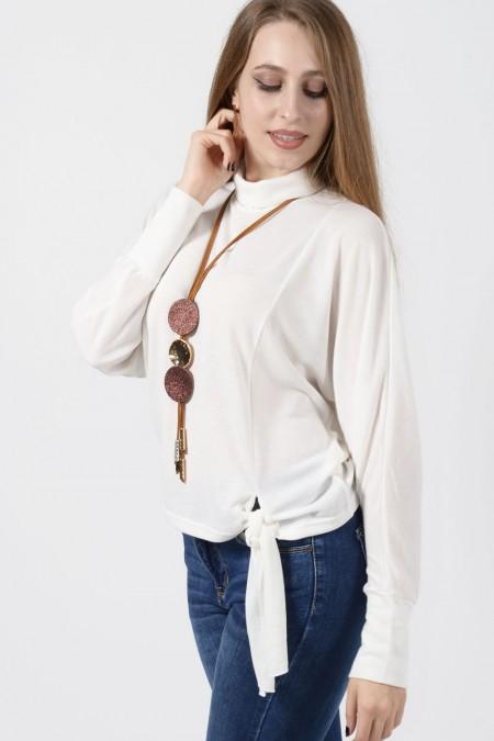 Μπλούζα Λευκή με δέσιμο μπροστά