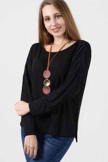Μπλούζα Φερμουάρ - Μάυρο