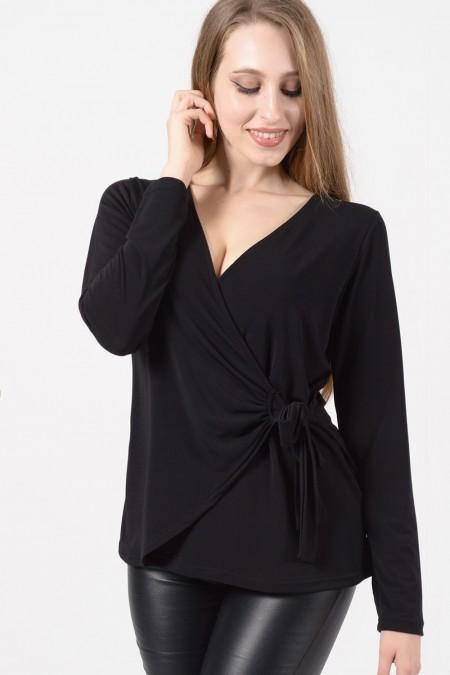 Μπλούζα Κρουαζέ - Μαύρο