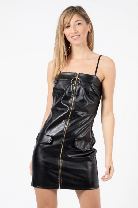 φόρεμα- μαύρο-δερματινη-βραδινό-1