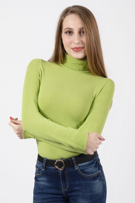 Knitted Turtleneck Top - Lime