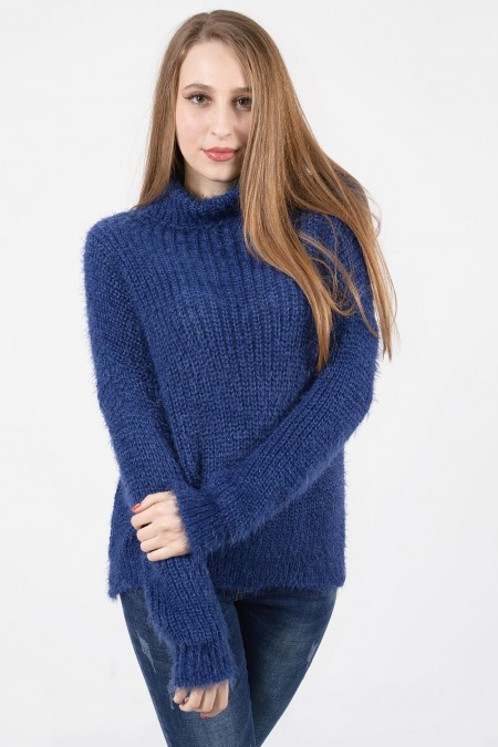 Hairy Knitted Sweater - Blue