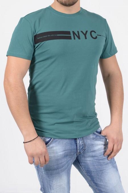 T-Shirt με Στάμπα - Πετρόλ