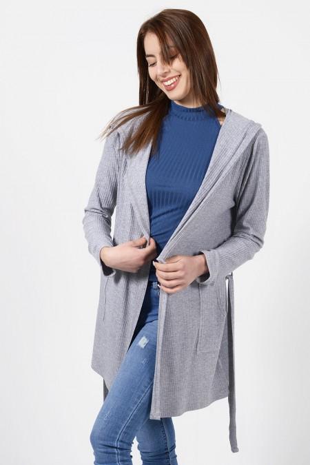 Hooded Cardigan - Grey