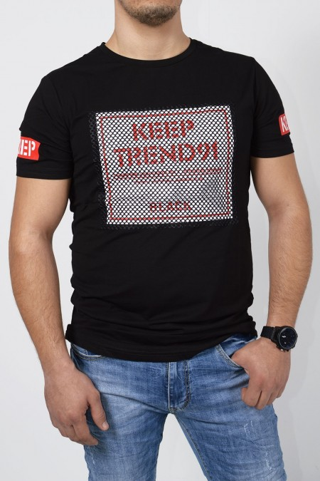 T-Shirt with Stamp - Black