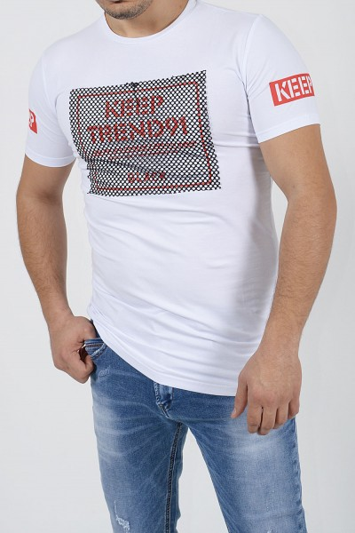 T-Shirt with Stamp - White