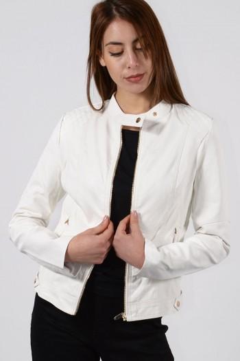 Γυναικείο Μπουφάν Δερματίνη - Λευκό