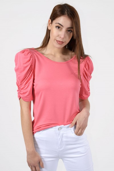 Short Sleeve Blouse - Pink