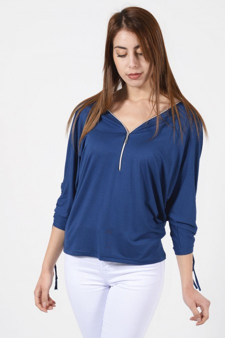 Blouse with Zipper - Blue