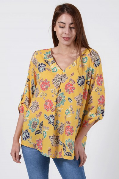 Printed Blouse - Yellow