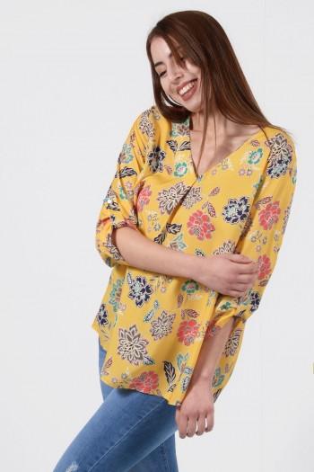 Γυναικεία Εμπριμέ Μπλούζα - Κίτρινο