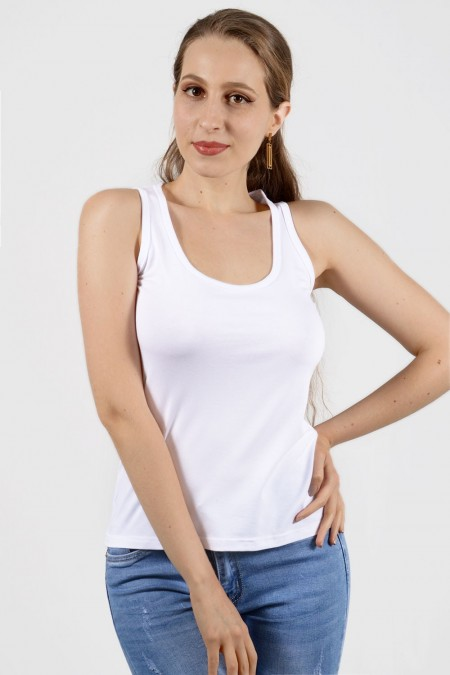 Athletic Back Tank Top - White