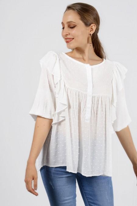 Μπλούζα με Βολάν διαφανής με κουμπάκια Λευκό