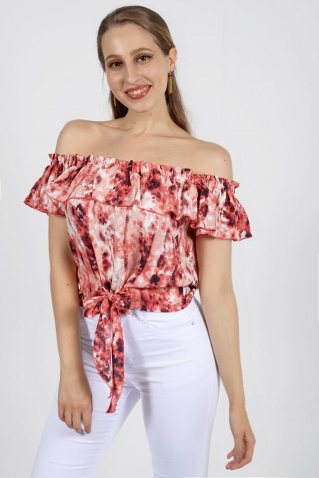 Bardot Top Tie Dye - Red