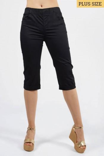 Παντελόνι κάπρι με τσέπες και λάστιχο στη μέση, μαύρο.