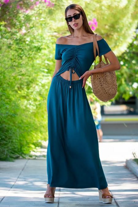Φόρεμα Μάξι - Πετρόλ