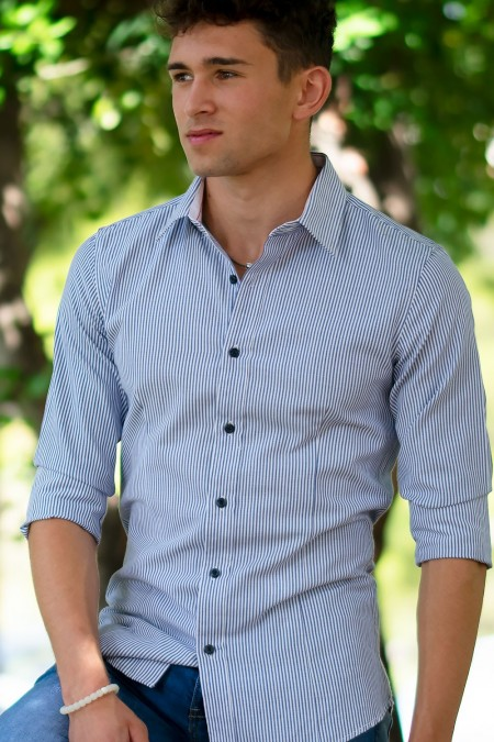 Shirt with Stripes - Blue