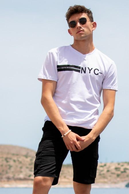 T-Shirt με Στάμπα - Λευκό