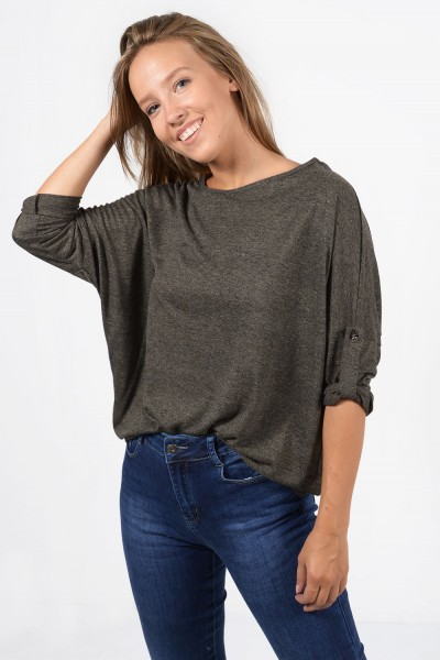 Long Sleeve Blouse - Olive Green