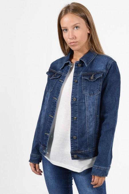 Γυναικείο τζιν μπουφάν σε σκούρο denim χρώμα. Κλείνει με κουμπιά και έχει τσέπες στο στήθος και στα πλαϊνά. Ελαφρώς ξεβαμμένο.