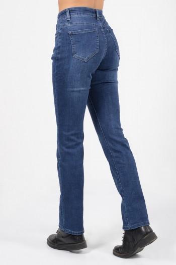 Γυναικείο ψηλόμεσο τζιν παντελόνι με κανονική εφαρμογή, τσέπες και ξεβαμμένες λεπτομέρειες.