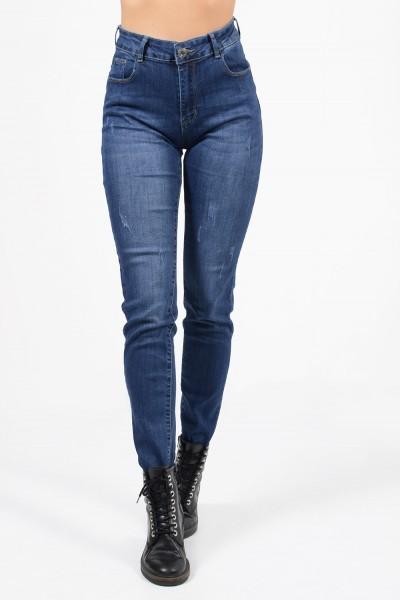 Γυναικεία ψηλόμεσο τζιν παντελόνι με ξεβαμμένη όψη, slim εφαρμογή και μικρά διακοσμητικά σκισίματα.
