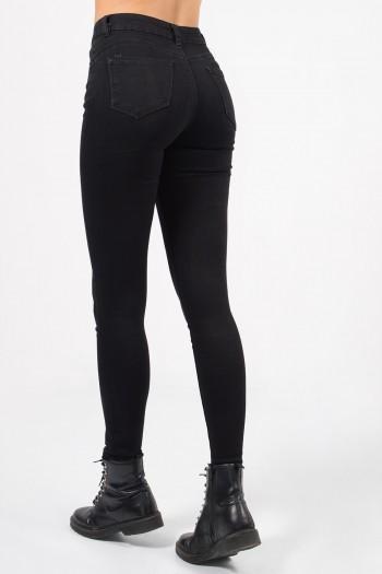 Γυναικείο ψηλόμεσο παντελόνι με στενή skinny εφαρμογή και τσέπες.