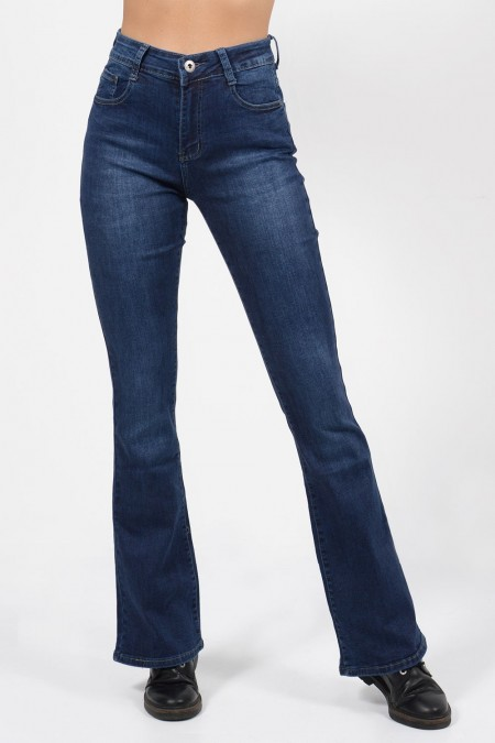 Γυναικείο ψηλόμεσο τζιν παντελόνι, καμπάνα με τσέπες.