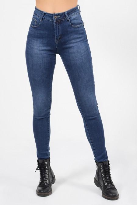 Γυναικείο ψηλόμεσο τζιν παντελόνι με skinny εφαρμογή και push up εφέ. Έχει τσέπες και είναι ελαφρώς ξεβαμμένο.