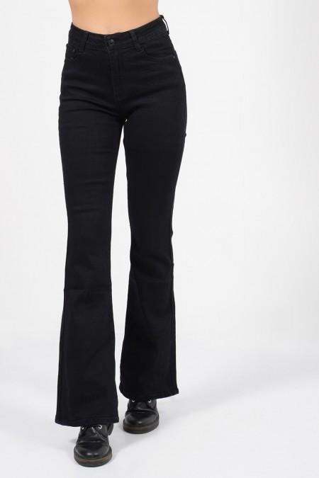 Γυναικείο ψηλόμεσο παντελόνι καμπάνα με τσέπες, σε μαύρο χρώμα.