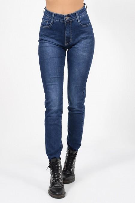 Γυναικείο ψηλόμεσο παντελόνι με ίσια εφαρμογή, τσέπες και ελαφρώς ξεβαμμένη όψη.