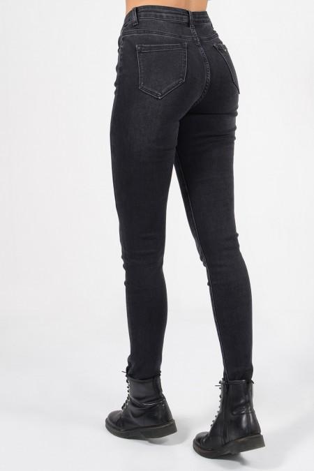 Γυναικείο ψηλόμεσο τζιν παντελόνι σε μαύρο χρώμα, με τσέπες και skinny εφαρμογή.