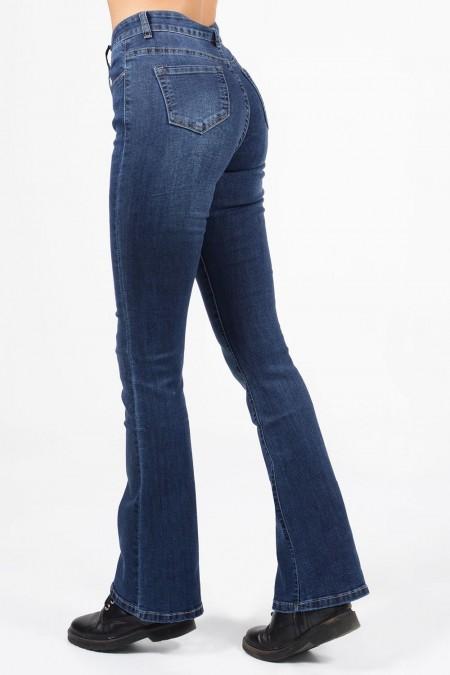 Γυναικείο ψηλόμεσο τζιν παντελόνι καμπάνα ελαφρώς ξεβαμμένο, με τσέπες.