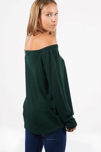 Γυναικεία μπλούζα σε φαρδιά γραμμή, με μακριά μανίκια.Σε σκούρο πράσινο χρώμα.