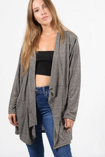 Γυναικεία μακρυμάνικη ζακέτα με ασύμμετρο λαιμό και τσέπες, σε γκρι χρώμα. Χονδρική Πώληση