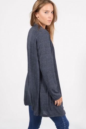 Γυναικεία μακρυμάνικη ζακέτα με ασύμμετρο λαιμό και τσέπες, σε μπλε χρώμα. Χονδρική Πώληση