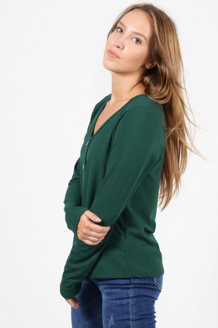 Γυναικεία μπλούζα με μακριά μανίκια και ριπ ύφασμα, V λαιμό και διακοσμητικά κουμπάκια. Σε πράσινο χρώμα.