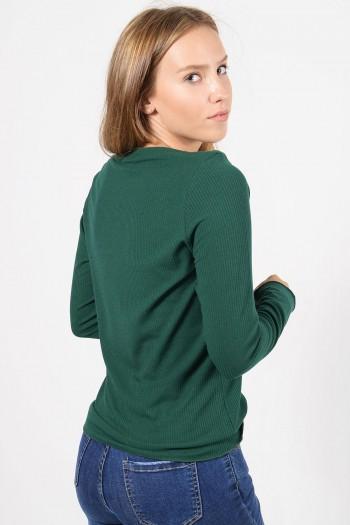 Γυναικεία μακρυμάνικη ριπ μπλούζα με διπλωμένο λαιμό χαμόγελο σε κυπαρισσί πράσινο χρώμα.